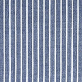 Wake In Cloud - Pack of 2 Pillow Cases, 100% Washed Cotton Pillowcases, White Striped Ticking Pattern on Navy Blue (King Size, 20x36 Inches)