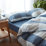 DONEUS Washed Cotton Duvet Cover Set King Size Blue Grey Reversible Comforter Cover 3 Piece Bedding Sets(1 Duvet Cover + 1 Pillow Sham), Super Soft and Simple Plaid Pattern Design