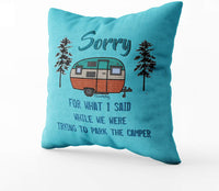 EMMTEEY Christmas Home Decor Throw Pillowcase for Sofa Cover,Christmas What i Said Parking rv Decorative Square Accent Zippered and Double Sided Printing Pillow Covers 18X18Inch,Set of 2,Blue Red