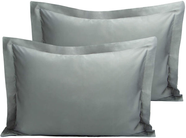 NTBAY Satin Pillow Shams, 2 Pack Super Soft and Luxury Pillow Cases, Standard Size, Dark Grey
