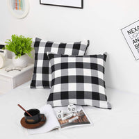 "Farmhouse Christmas Decor Pillow Covers, Black and White Buffalo Checkers Plaids Cotton Throw Pillow Covers, Soft Cushion Cover Decorative Pillowcase for Bed/Sofa/Chair/Couch, 18""x18""(45cm), Set of 2"