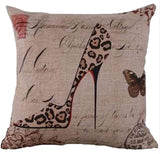 "Cotton Linen Square Decorative Throw Pillow Case Personalized Cushion Cover Leopard Pattern High Heel Shoe 18 ""X18 "" ¡­"