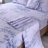 Desirable Life Bed Sheet Set Microfiber Fitted Flat Sheets Pillow Shams 4 Piece Sets Marble Texture Pattern - Super Soft, Hypoallergenic, Deep Pockets, Wrinkle & Fade Resistant (Blue, Queen Size)