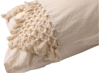 Flber Tufted Tassel Sham Set Lattice Cotton Pillow Covers,18.9in x29.1in,Set of 2