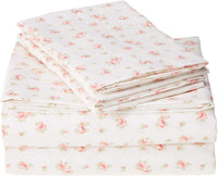 Amrapur Microfiber Sheet Set | Luxuriously Soft 100% Microfiber Rose Printed Bed Sheet Set with Deep Pocket Fitted Sheet, Flat Sheet and 2 Pillowcases , 4 Piece Set, Full