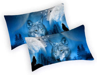 iAsteria Brushed Microfiber Pillowcase Set of 2, Super Soft and Cozy, Wrinkle, Fade, Stain Resistant, Cool Wolf Pattern Decorative Pillow Cases Shams, Covers with Envelope Closure
