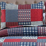 Jessy Home Plaid Patchwork Standard Quilted Pillow Shams Set of 2 Red Blue Square Stitching Pillow Covers 20 X 26-Inch Queen/Full Size 100% Brushed Microfiber