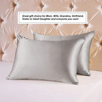 Ravmix 100% Pure Silk Pillowcase Standard Size for Hair and Skin with Hidden Zipper - Both Sides 21 Momme 600TC Hypoallergenic Mulberry Silk, 20×26 inches, 1PCS, Apricot Gray