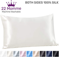 Sleep Mantra 100% Silk Pillowcase Standard-Size White - Natural 22 Momme Pillow Cover with Hidden Zipper, 20 x 26 Inch Wrinkle Resistant Smooth Washable Pillow Sham