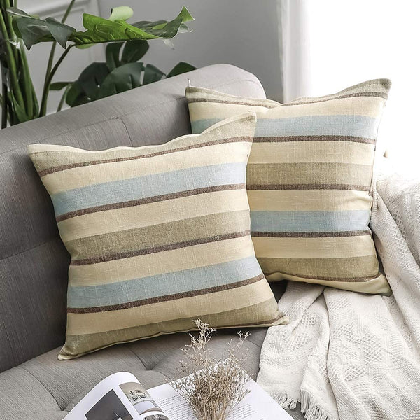MIULEE Pack of 2 Decorative Classic Retro Stripe Throw Pillow Covers Cotton Linen Modern Farmhouse Pillow Case Blue and Tan Cushion Case for Sofa Bedroom Car 16 x 16 Inch 40 x 40 cm