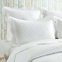 "Calla Angel CASPCTSWT_SGDN Sage Garden Luxury Pure Cotton Quilted Pillow Sham, 26"" x 20"", White, Standard"
