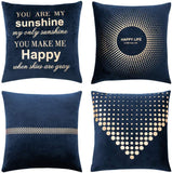 MIULEE Pack of 4 Decorative Velvet Pillow Covers Soft Square Throw Pillow Covers Soild Cushion Covers Navy Blue Pillow Cases with Pattern for Sofa Bedroom Car 18x18 Inch