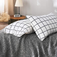 "VM VOUGEMARKET Bedding Pillowcases 2 Pieces Checkered Pattern Pillow Shams-100% Cotton White Black Standard Queen Pillow Covers Envelope Closure End,Soft,Luxury,Comfortable (20""×26"",2 Pieces)"