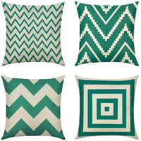 MIULEE Pack of 4 Decorative Pillow Cover Wave Pattern Geometric Style Durable Cotton Linen Burlap Square Throw Cushion Cover Cushion Case for Sofa Bedroom Car 12 x 20 Inch 30 x 50 cm Green