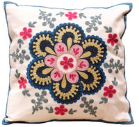 18x18 Inches Pillows Cover Ethnic Boho Embroidery Printed Standard Size Cotton Decorative Canvas Square Throw Pillow Cases | Cushions Covers