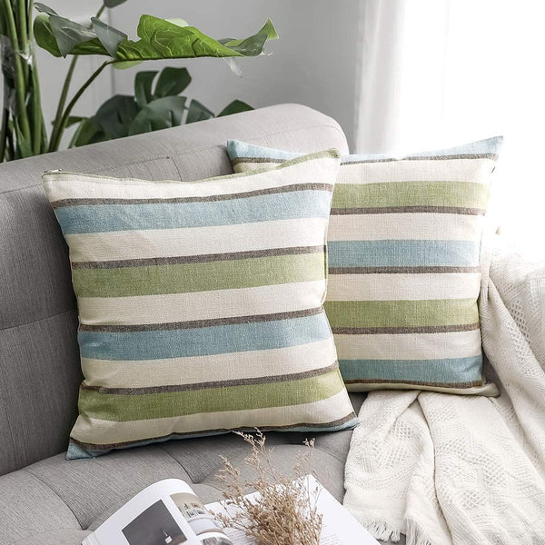MIULEE Pack of 2 Decorative Classic Retro Stripe Throw Pillow Covers Cotton Linen Modern Farmhouse Pillow Case Green and Blue Cushion Case for Sofa Bedroom Car 16 x 16 Inch 40 x 40 cm