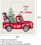 peony man Christmas Decorations Pillow Covers - 4 Pack Christmas Tree and Vintage Red Truck Pattern Couch Throw Pillow Cases for Merry Christmas Home Sofa Decoration, 18 x 18 Inch