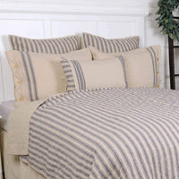 "Piper Classics Market Place Blue Ticking Stripe Quilted Euro Sham, 26"" x 26"", Farmhouse Style Bedding in Blue & Natural Cream"