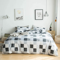 YuHeGuoJi 3 Pieces Duvet Cover Set 100% Cotton Queen Size Watercolor Dot Pattern Bedding Set 1 Grey Geometry Print Duvet Cover with Zipper Ties 2 Pillowcases Luxurious Quality Soft Breathable