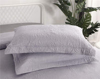 JARSON 2Piece Standard Pillow Shams Floral Embossing Pillow Cover Lightweight Polyester Microfiber,Gray (Purplish)