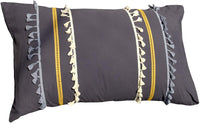 Flber Tasseled Sham Set Boho Cotton Pillow Covers,18.9in x29.1in,Set of 2