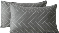 SUSYBAO 100% Cotton Pillowcases King Size Set of 2 Grey Herringbone Geometric Bed Pillow Covers Envelope Closure End Pillow Protectors Luxurious Soft Breathable Lightweight(2 Pack, 20 x 36 inch)