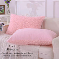 MooWoo Faux Fur Pillowcase Set of 2, Sherpa Pillow Case, Fluffy Shaggy Cute Decorative Pillow Cases for Home Bedroom Living Room, Covers with Zipper Closure - Standard Queen Size, Pink