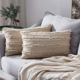 MIULEE Set of 2 Decorative Boho Throw Pillow Covers Cotton Linen Striped Jacquard Pattern Cushion Covers for Sofa Couch Living Room Bedroom 20x20 Inch Ivory White