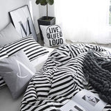 Wellboo Pillowcases Black Striped Pillow Cases Black and White Pillow Shams Stripes Bed Pillow Covers Cotton Standard Vertical Striped Pillow Protectors White Women Men Adults Envelope Closure 2 PCS