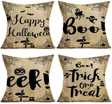 "Doitely Welcome Fall Pumpkins Apples Cider Throw Pillow Covers Cotton Linen Dog Bird Horse Cat Pattern Pillow Cases Autumn Quote Maple Leaves Sunflower Halloween Thanksgiving Decor 18""×18"" Set of 4"