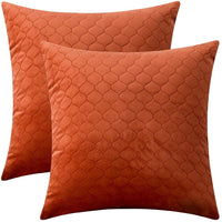 "Rythome Set of 2 Decorative Pattern Throw Pillow Cases, Comfortable Quilted Velvet Cushion Covers for Sofa Couch and Bed - 18""x18"", Burnt Orange"