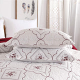 Oliven Pillow Shams Standard Queen Size Set of 2,Embroidered Burgundy White Pillow Cases Quilted Pillow Shams