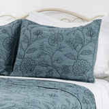 Elegant Life 100% Cotton Night Blossom Embroidery Pillowcase Pillow Shams, Luxury Floral Pattern Pillow Cover, Standard Size, 20'' x 26'' + 0.5'' Flange, Park Blue