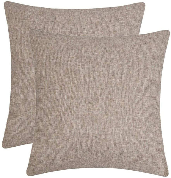 Jepeak Comfy Throw Pillow Covers Cushion Cases Pack of 2 Cotton Linen Farmhouse Modern Decorative Solid Square Pillow Cases for Couch Sofa Bed (Light Brown, 20 x 20 Inches)