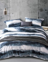 MILDLY Bedding Duvet Cover Sets Queen Size,100% Egyptian Cotton Duvet Cover with Zipper Closure and 2 Pillow Shams, Navy Blue and White Watercolor Pattern Printed, Angel
