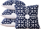 Deconovo Soft Cotton Cushion Covers Hook Pattern Embroidered Pillow Cases for Living Room Grey and White 18x18 Inch Set of 4 No Pillow Insert