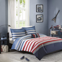 Mi Zone - Kyle Comforter Set - Red - Twin/Twin XL - Striped Pattern & Twill Tapes - Includes 1 Comforter, 1 Decorative Pillow, 1 Sham