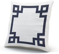 SALLEING Custom Fashion Home Decor Pillowcase Navy Blue and White Greek Key Border European Square Throw Pillow Cover Cushion Case 26x26 Inches One Sided Print