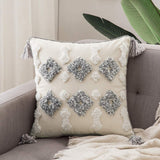 MIULEE Decorative Throw Pillow Cover Tribal Boho Woven Tufted Pillowcase with Tassels Super Soft Square Pillow Sham Cushion Case for Sofa Couch Bedroom Car Living Room 18X18 Inch Gray