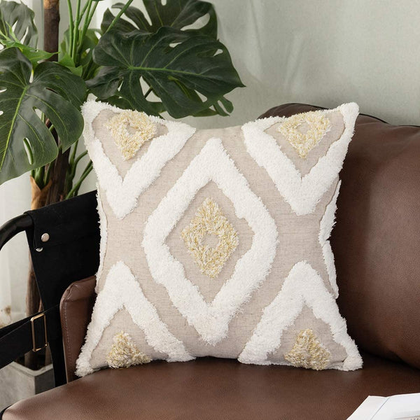 Tiffasea Tufted Throw Pillow Cover 18x18, Cream and Gold Diamond Boho Pillowcase Tribal Decorative Cushion Cover Geometric Square Chic Pillow Shams for Couch Sofa Living Room, Kaleidoscope