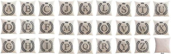 Bailand Creative Pillow Covers 26 Letters Pattern Cotton Linen Cushion Cover Throw Pillow Case Sofa Home Decor(Letter X) 18X18 Inch (45X45CM)
