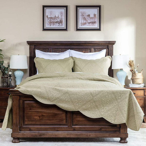 "Elegant Life All-Season Cotton Collection Martha Reversible Allover Trapunto Quilting Washed Pillow Sham, King Size, 20 x 36"" + 2"" Khaki Color"