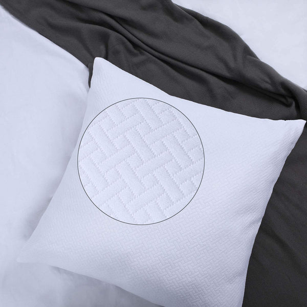 White Euro Shams 26x26 Quilted Pattern Matelasse European Sham Covers Set of 2 Textured Euro Pillowcases Brocade Large Lattice Jacquard Basket Weave Thick GEO Cotton Big Square Pillow Covers Heavy