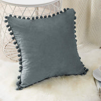 Top Finel Square Decorative Throw Pillow Cases Soft Velvet Outdoor Cushion Covers 18 X 18 with Balls for Sofa Bed, Set of 2, Grey