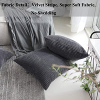 Home Brilliant Striped Corduroy Plush Velvet Large Euro Sham Spring Decoration Cushion Cover for Couch, 24 x 24 inch (60cm), Dark Grey