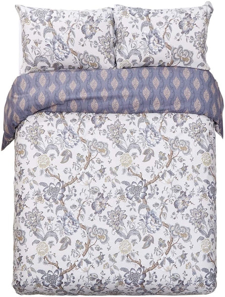 Word of Dream Cotton Duvet Cover Sets Full Queen Size, Blue Grey Leaves Pattern Printed Soft Comforter Bedding Duvet Cover with Zipper Closure Corner Ties, 3 Piece (1 Duvet Cover + 2 Pillow Shams)