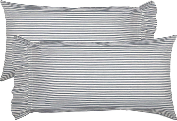 VHC Brands Farmhouse Bedding Sawyer Mill Ticking Cotton Striped King Pillow Case Set of 2, Blue Denim