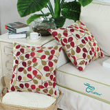 CaliTime Cushion Cover Throw Pillow Case Shell for Couch Sofa Home Decoration Luxury Chenille Cute Leaves Both Sides 20 X 20 Inches Ecru Red