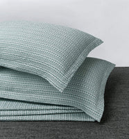 PHF 100% Cotton Pillow Shams Pack of 2 Yarn Dyed Waffle Weave Pattern Soft Cozy Home Decor for Winter No Filling King Size Green