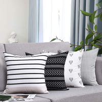 "Fascidorm Set of 4 Pillow Covers Stripe Pattern Throw Pillow Case Daily Decorations Sofa Throw Pillow Case Cushion Covers Zippered Pillowcase 18"" x 18"""